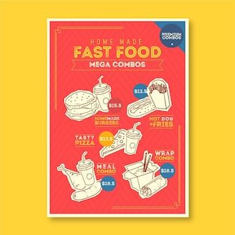 Combo menu's sjabloon poster