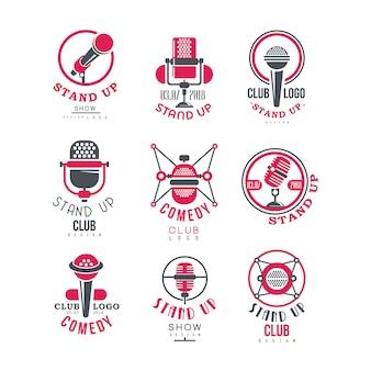Comedy club opstaan show logo ontwerpset illustraties