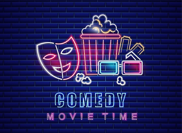 Comedy film neon symbool