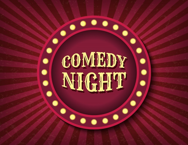 Comedy night circus sjabloon. helder gloeiende retro bioscoop neon teken.