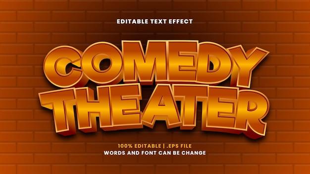 Comedy theater bewerkbaar teksteffect in moderne 3d-stijl