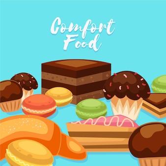 Comfort food collectie geïllustreerd thema