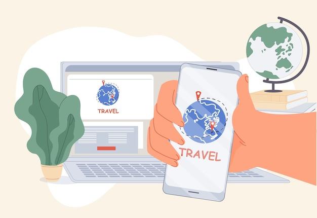 Comfort-reisbureau mobiele applicatie online service. boekingstechnologie om de beste tour op internet te bestellen. gebruiker hand met smartphone voorkant van computer. toerisme, wereldreizen. digitale marketing