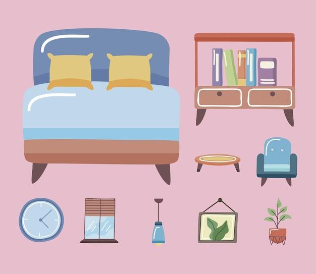 Comfortabel bed en home icon set