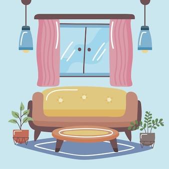 Comfortabele en thuisbank met tafel in de woonkamer