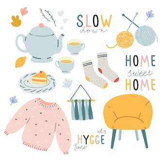 Comfortabele hygge doodle illustraties met letters