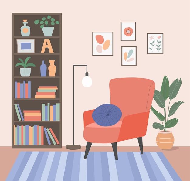 Comfortabele stoel, boekenkast en kamerplanten. woonkamer.