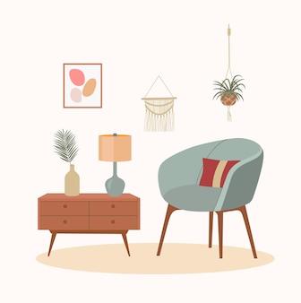 Comfortabele stoel, lamp en kamerplanten. scandinavisch interieur. vector platte cartoonillustratie