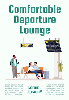 Comfortabele vertreklounge poster sjabloon. man en vrouw in luchthavenlobby. commercieel flyerontwerp met semi-platte afbeelding. vector cartoon promo kaart. reclame-uitnodiging voor luchtvaartdiensten
