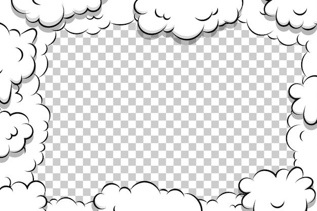 Comic book cartoon bladerdeeg wolk sjabloon op transparante achtergrond voor tekst