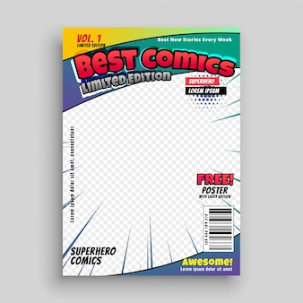 Comic book cover magazine voorpagina lay-out