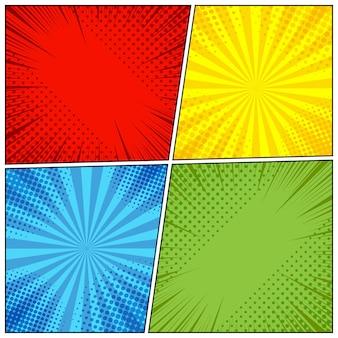 Comic book pagina-achtergrond met radiale, halftoon effecten en stralen in pop-art stijl.