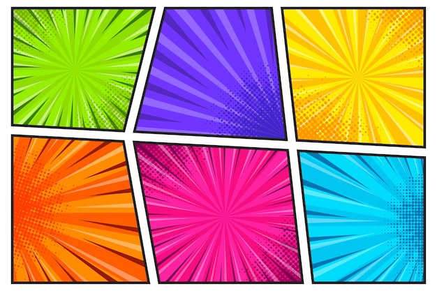 Comic book paginasjabloon met radiale halftooneffecten en stralen in popart-stijl