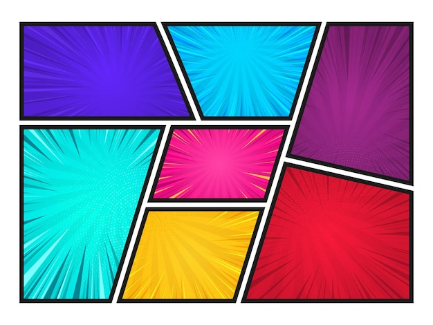 Comic book paginasjabloon van kleurrijke frames gedeeld door lijnen met stralen radiale halftoon