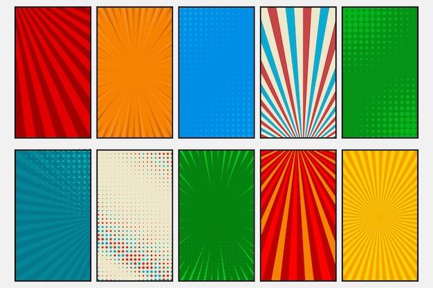 Comic book paginasjabloon van kleurrijke frames