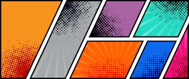 Comic book paginasjabloon van kleurrijke kaders gedeeld door lijnen met stralen, radiaal, halftoon en gestippelde effecten in pop-artstijl.