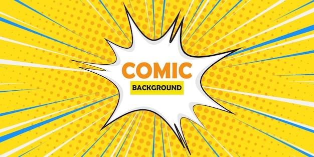 Comic book-stijl met witte explosie. toespraak bubble komische halftone achtergrond