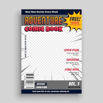 Comic book tijdschrift voorbladsjabloon