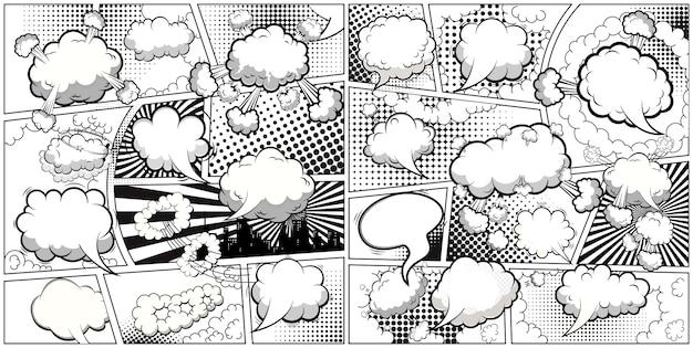 Comic book zwart-wit paginasjabloon gedeeld door lijnen met tekstballonnen. .