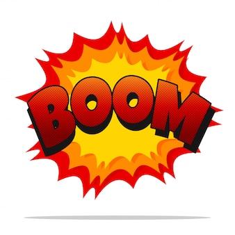 Comic boom. vector cartoon geluidseffect lawaaierige boom geïsoleerd op wit