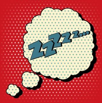 Comic bubble in pop art style met expression zzz