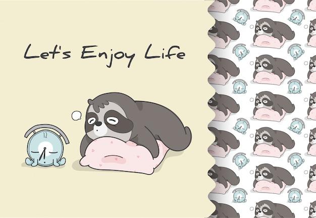 Comic cartoon platte dieren luiaard willen slapen