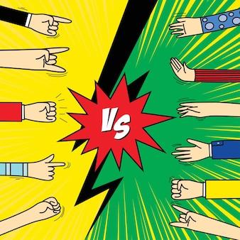 Comic frame vs met menselijke handgebaren signalen en teken