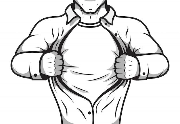 Comic hero opening shirt