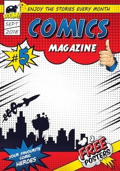 Comic kleurrijke poster sjabloon