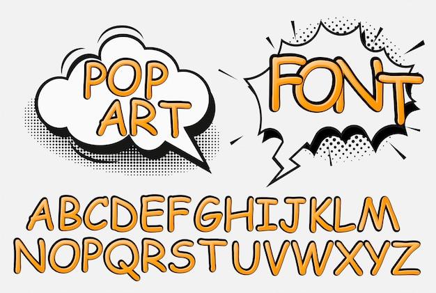 Comic pop art alfabet en cijfers