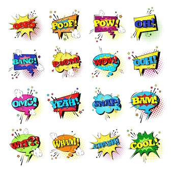 Comic speech chat bubble set pop-artstijl geluidsuitdrukking tekstpictogrammen verzameling