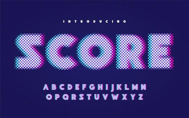 Comic-stijl engels alfabet in hoofdletters met glitch effect.