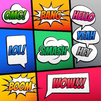Comic tekst toespraak expressie effect op boek strip