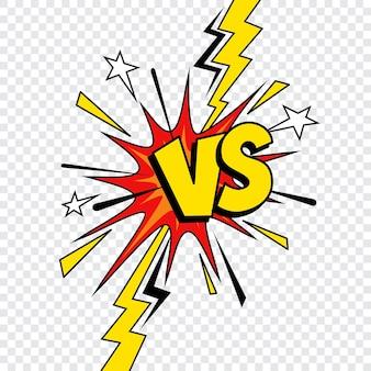 Comic vs of versus-ontwerp van de strijd van het stripboek