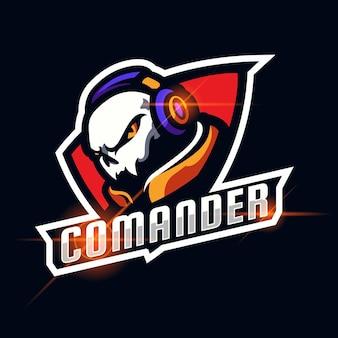Commandant schedel esport logo ontwerp vector sjabloon illustratie