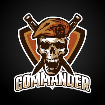Commander mascotte esport logo ontwerp
