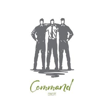 Commando, team, vrienden, werk, bedrijfsconcept. hand getekend geïsoleerde vector.