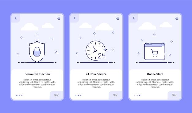 Commerce onboarding beveiligde transactie 24-uurs service online winkel voor sjabloon voor spandoek van mobiele app