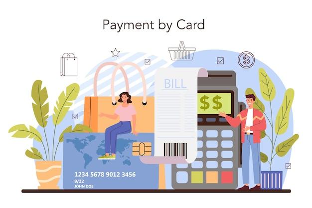 Commercieel activiteitenproces. modern betalingssysteem. contante betaling