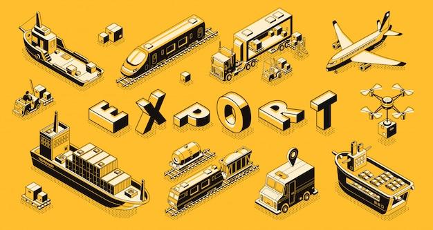 Commercieel goederen exportconcept met lucht, weg, maritiem vrachtvervoer lijntekeningen