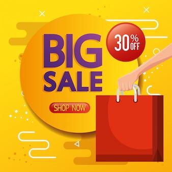 Commercieel label met grote verkoop belettering en boodschappentas banner