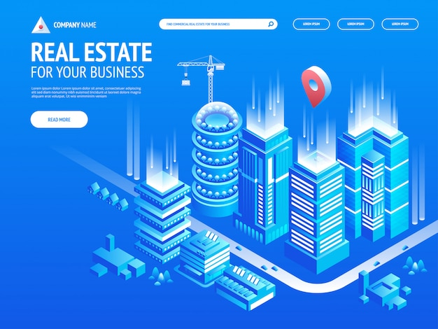 Commercieel onroerend goed voor uw bedrijf. kies criteria voor kantoor. isometrische vectorillustratie met gebouwen. bestemmingspaginasjabloon. koptekst voor website.