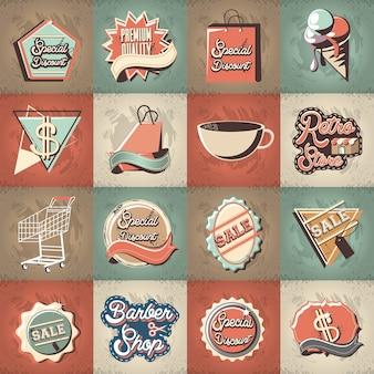Commercieel ontwerp van de de stijl vectorillustratie van de etiketten retro stijl