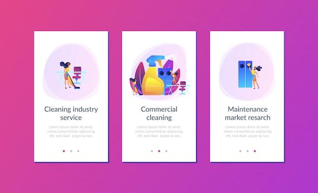 Commercieel schoonmaak-app-interfacemalplaatje