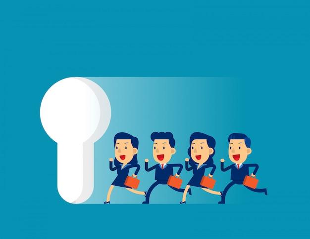 Commercieel team dat aan groot sleutelgat loopt