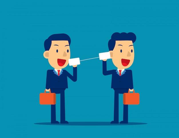 Commercieel team dat door tinblikken communiceert