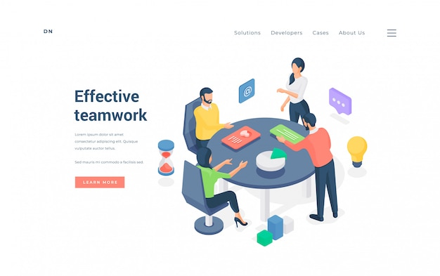 Commercieel team dat effectief met gegevens werkt. isometrische illustratie