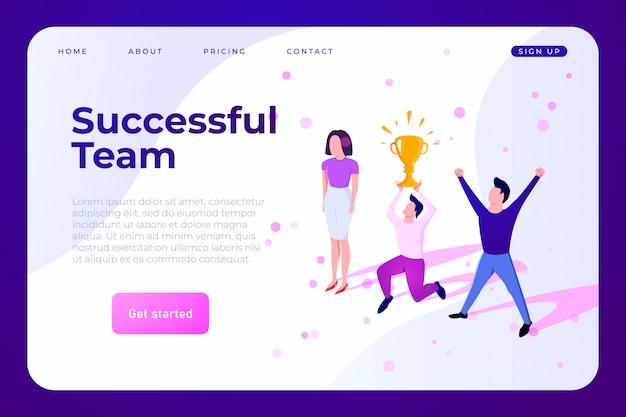 Commercieel team dat het succeswebmalplaatje viert