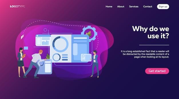 Commercieel team dat infographics bouwt