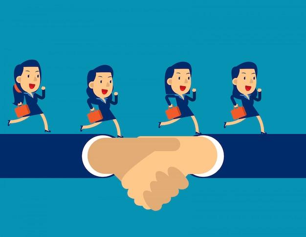 Commercieel team dat op handschok loopt